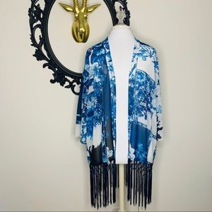 ✨ Travelers by Chico's Blue Floral Fringe Kimono